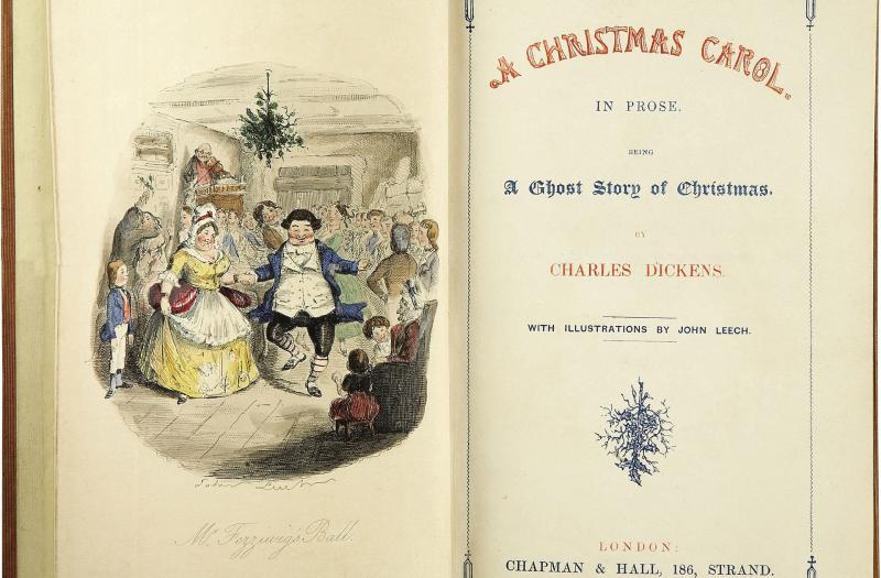 """Titelblatt der Erstausgabe von """"A Christmas Carol"""", kolorierte Illustration von John Leech"""